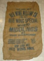 Vintage Red Wing Milling Co. Wheat Middlings Burlap Feed Sack Red Wing Minnesota