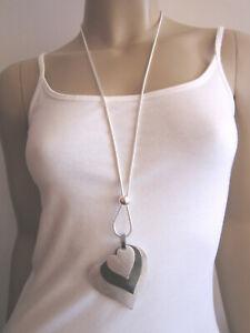 Damen Hals Kette lang Modekette Silber Grau 3 x Herz Statement Blogger Lagenlook