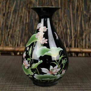 Chinese old porcelain Black glazed porcelain Lotus vase