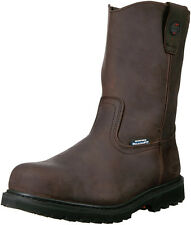 New SKECHERS Work Ruffneck Wellington Steel Toe Leather Men Boots Sz 8.5