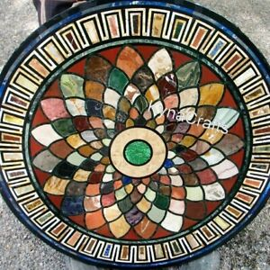 30 Inches Marble Coffee Table Top with Geometrical Work Patio Table for Home