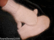 handgestrickt Designer Handschuhe Rosa Fäustlinge 100% Angora  Gloves in rosé