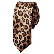 SKINNY NECK TIE LEOPARD Cheetah Print Polyester Unisex necktie USA