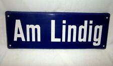 Am Lindig = emailliertes Straßenschild Emailleschild Emailschild Hinweisschild