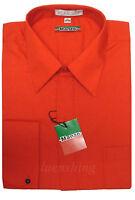 New Manzo men's shirts dress formal long sleeve french cuff hidden button red
