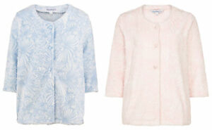 Slenderella Ladies Floral Jacquard Bed Jacket Button Up Soft Fleece Housecoat