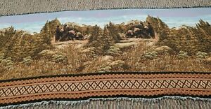 """Greg Giordano Tapestry Blanket, 162"""" X 68"""" Bear and cubs, Afghan"""