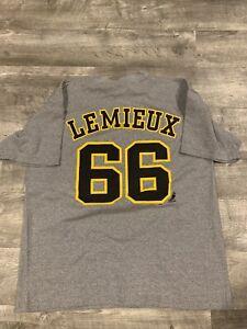 Vintage '90's Pro Edge Pittsburgh Penguins Mario Lemieux T-shirt Mens Large EUC