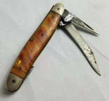 Vintage Smooth Browns Marked 65 2 Blade Old Pocket Knife