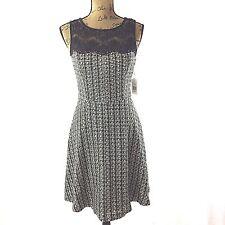 NEW Jessica Simpson Dress 4 Sm White Black Metallic Tweed Lace Full Skirt $148