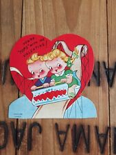 1951 Vintage Valentine Blonde Couple Boy Girl Roller Coaster You're Tops with Me