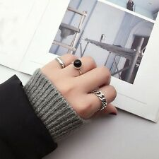 Lock Women Men Simple Fashion Square Silver Plated Chain Opening Rings