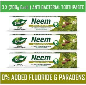 🇬🇧 3 x 200ml Dabur herbal NEEM toothpaste STRONG Teeth Gums Toothpaste vegan