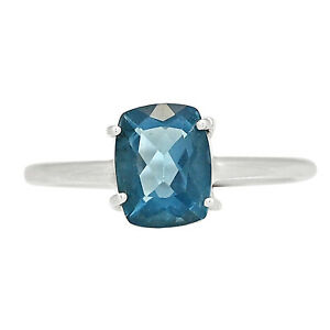 Faceted Belgian Teal Fluorite 925 Sterling Silver Ring Jewelry s.9.5 ALLR-3558