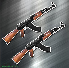 (2) TWO AK47 AK-47 Vinyl Decal Sticker For Car Laptop Skateboard NEW USA Rifle