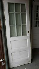 Exterior Antique Wood Door Approx 30 x 80 9 Panes Glass Can Ship!