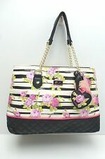 "BETSEY JOHNSON Handbag ""Black/Cream/Floral Satchel Tote Purse New $88"