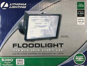 Lithonia 100W Floodlight Bronze Security Spot Light Wall Eave Mount Outdoor NEW