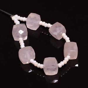 "AAA+ 100% Natural Rose Quartz Box Shape Faceted Beads 7X7 mm Strand 3"" DK-8202"