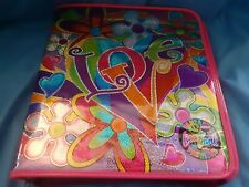 "Vintage Lisa Frank Groovy ""Love"" 3 Ring Binder Glitter Mirror"