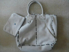 GAP STONE FAUX SUEDE TOTE WITH BROWN DOG TOOTH FUR LINING & DETACHABLE PURSE