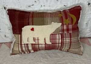 NEW Handmade Polar Bear Christmas Pillow Vintage Quilt  Chenille Bedspread