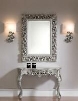 Wandkonsole Silber + Wandspiegel Antik Frisieur Flurpiegel Barock Konsolentisch