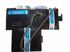Personalised Leather gents/mens chain wallet