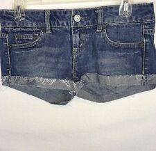 American Eagle Live Your Life Denim Shorts Size 2 Cut Off Cuffed Zip Button #477