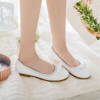 Women Casual Round Toe Lace Pumps Bowknot Soft Sole Flat Solid Shoes Loafers