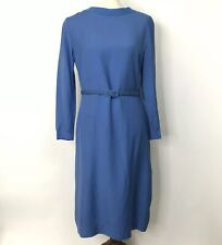 0805f6a1aa5 VTG 60s Shift Dress Teal Blue Jackie-O Belted Suede Collar Union Made Sz 12