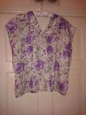 Womens Floral Cover up Kaftan Ladies Silky Feel Lilac Flower Blouse Top L XL 16