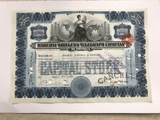1913 Marconi Wireless Telegraph Company Stock Certificate
