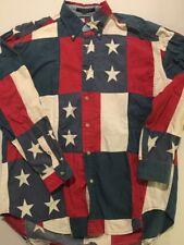 Vtg Tommy Hilfiger Button Up Flag Patchwork USA Medium