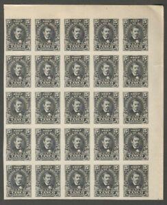 AOP Honduras 1907 5c Jose Medina imperf proof block of 25 in black