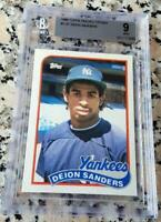 DEION SANDERS 1989 Topps TIFFANY RARE SP Rookie Card RC BGS 9 Yankees $$ HOF $$