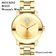 Movado Bold Crystal Swiss Gold Museum Dial Gold Ion-Plated Women's Watch 3600104