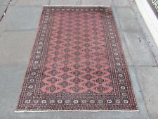 More details for vintage worn traditional hand made oriental pakistan pink wool rug 170x121cm