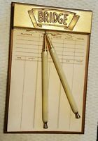 vintage brass -bridge game score  refillable pad  plus,two stix lead pencils