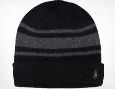 3ab660a476d POLO RALPH LAUREN Mens Wool Cashmere Rugby-Stripe Beanie Skull Ski Cap Hat  BLACK