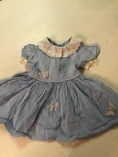 Vintage Baby Blue Butterfly Dress 15 1/2 Inches 1990's