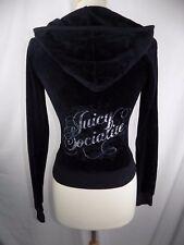 Juicy Couture Black Socialite Full Zip Velour Jacket Hoodie S Small