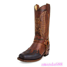 Women Western Boots Square Toe Mid-calf Boots Vintage Pull on Cowboy Shoes 38-48