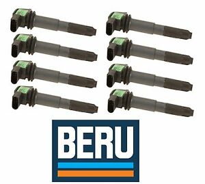 For Porsche Cayenne S T Ignition Coil w/ Spark Plug Conector Set of 8 OEM BERU