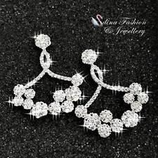 18K White Gold Plated Diamond Studded Sparkling Crossover Chandelier Earrings