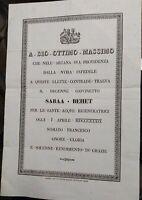 1839 14) MANIFESTO PER LA CONVERSIONE E BATTESIMO DEL BIMBO NUBIANO SABAA BEHET