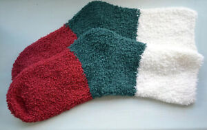 Fluffy Socks Maroon/Green/White. One size. Snuggly.