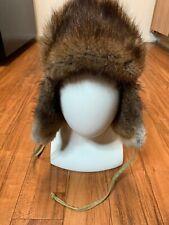 Cabelas Trapper Fur Hat Cap Aviator Ear Flap Size Large Beaver Muskrat