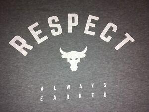 Men's Under Armour UA Xtra Large XL Gray The Rock WWE Dwayne Johnson T-shirt