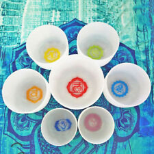 """TOPFUND Chakra Tuned Set with Paternoster of 7 Crystal Singing Bowls 8""""-12"""""""